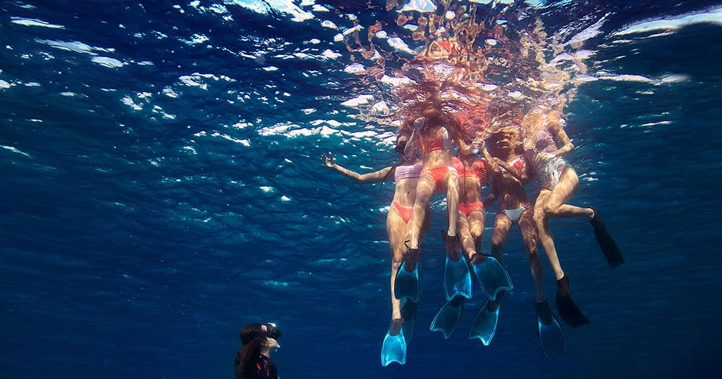 Swimming in hot bikini brand Maaji
