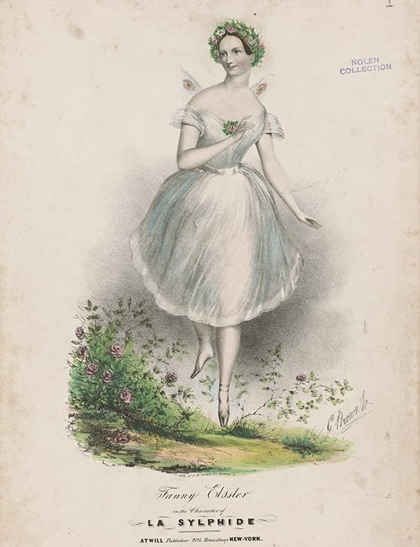 A print of Fanny Elssler, a 19th century ballerina wearing pointe shoes