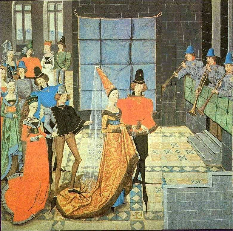 Colourful painting of well dressed couples doing a basse dance