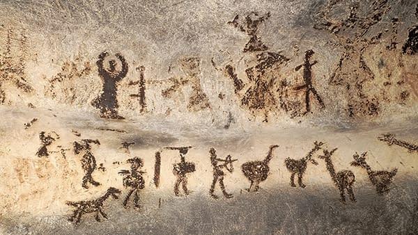 Prehistoric wall paintings of dancing