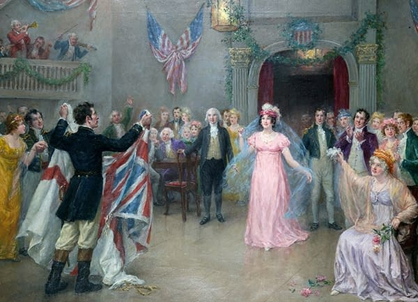 A painting of an American 19th century ball