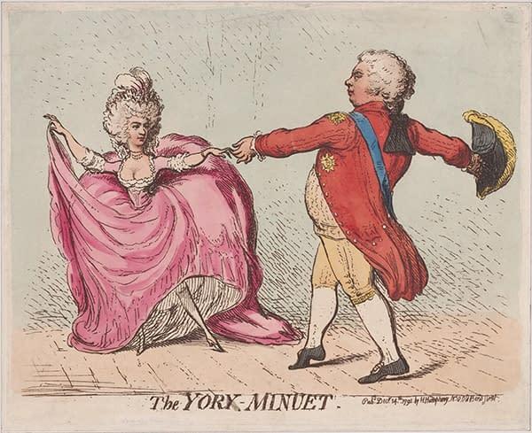 Print of an 18th century dance, the minuet